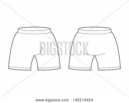 Shorts Template For Design. Sample For Sports Football Clothing. Briefs Blank Curve