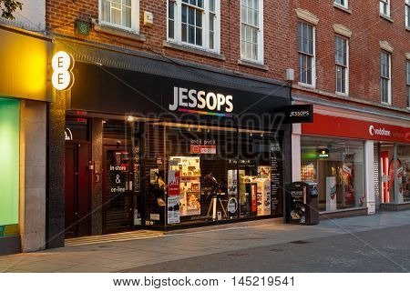 NOTTINGHAM ENGLAND - AUGUST 30: Frontage of the Jessops camera store at night on Clumber Street. In Nottingham England. On 30th August 2016.