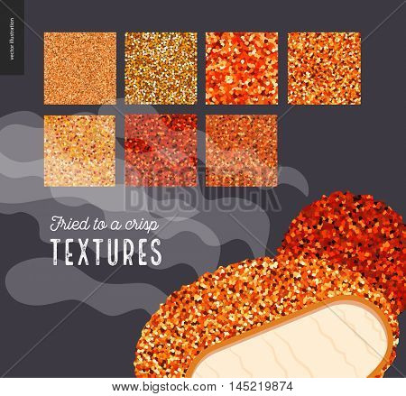 Fried meat texture patterns. Flat vector cartoon illustrated seamless patterns of fried meat skin with a usage example of prepared food.