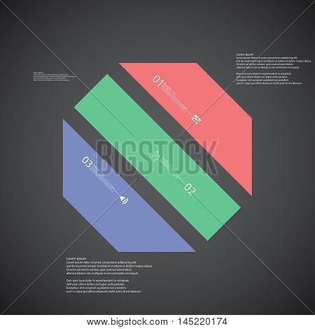 Octagon Illustration Template Consists Of Three Color Parts On Dark Background