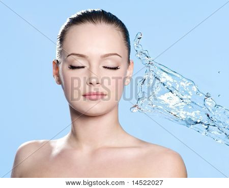 Clean Face And Stream Of Water