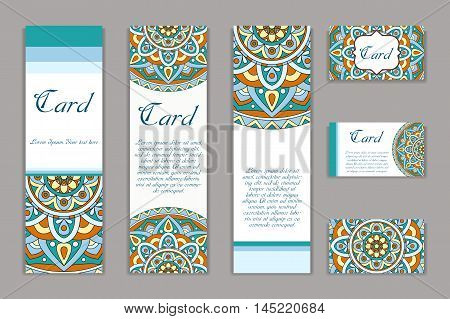 Invitation graphic card with mandala. Decorative ornament for card design: wedding bithday party greeting. Vintage mandala element. Vector illustration