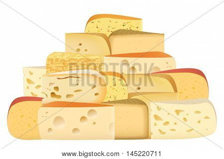 Many pieces of Various types of Cheese together set. Parmesan mozarella swiss emmentaler cheddar gouda collection