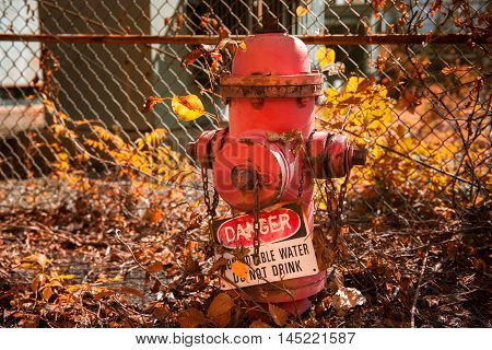 Abandoned fire hydrant in old factory plant