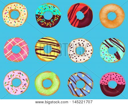 Set of cartoon doughnuts donut cake isolated on bright blue background. Pastry donuts menu
