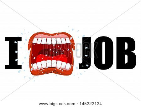 I Hate Job. Shout Symbol Of Hatred And Antipathy. Open Mouth. Flying Saliva. Yells And Strong Scream