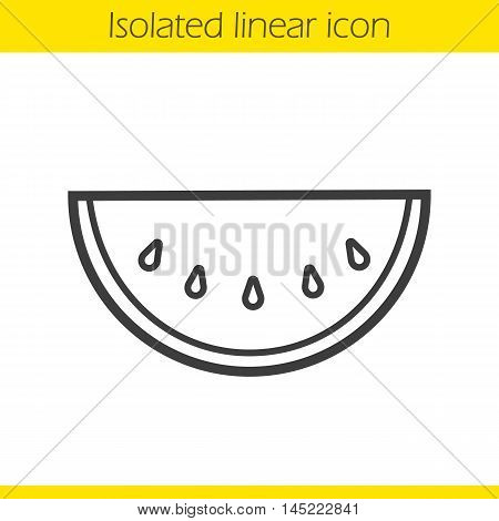 Watermelon linear icon. Thin line illustration. Watermelon slice contour symbol. Vector isolated outline drawing