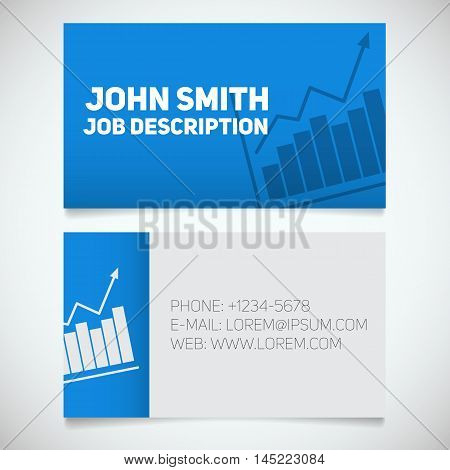 Business card print template with income growth chart logo. Easy edit. Marketer. Stockbroker. Stationery design concept. Vector illustration