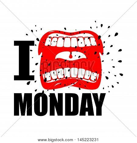 I Hate Monday. Shout Symbol Of Hatred And Antipathy. Open Mouth. Flying Saliva. Yells And Strong Scr