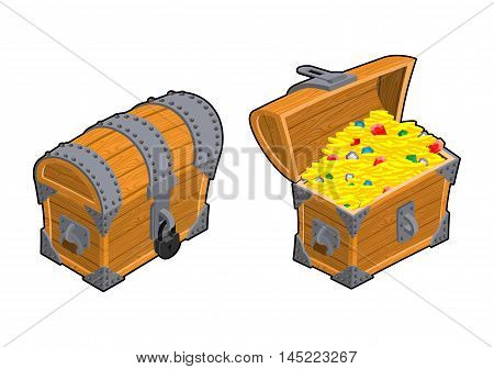 Treasure Chest Set. Outdoor And Indoor Old Casket With Money. Gold And Precious Stones Ornament. Sap