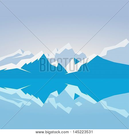 Dawn on snowy mountains. Mountains reflected in the water in the morning. Vector illustration