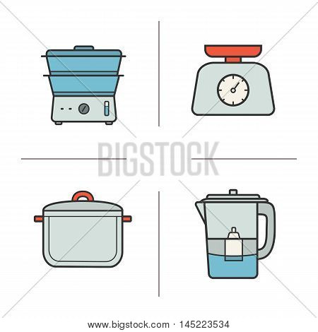 Kitchen appliances color icons set. Cooking instruments. Steam cooker, food scales, saucepan, water filter. Kitchenware isolated vector  illustrations