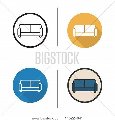 Sofa icon. Flat design, linear and color styles. Upholstered blue couch. Isolated vector illustrations