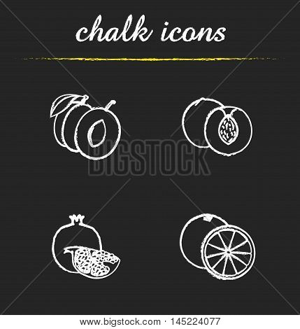 Fruit icons set. Halved plum, cutted peach and orange, pomegranate piece illustrations. Isolated vector chalkboard drawings