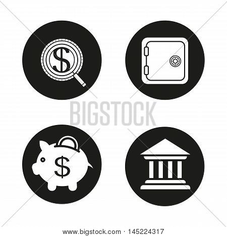 Banking and finance icons set. Investment search, bank vault, piggybank with dollar coin, bank building. Courthouse. Deposit box. Vector white illustrations in black circles
