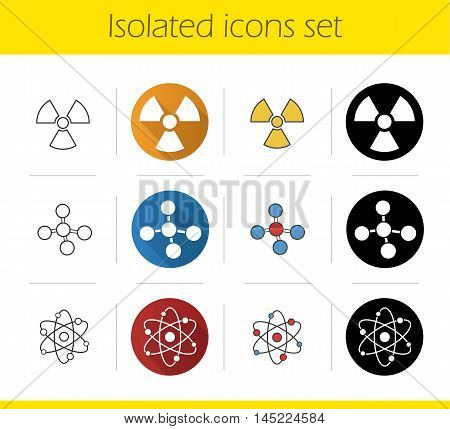 Science icons set. Flat design, linear, black and color styles. Biohazard sign, molecule and atom structure. Radiation, chemistry and physics symbols. Isolated vector illustrations