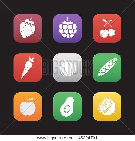 Fruit, berries and vegetables flat design icons set. Strawberry, raspberry, cherry, carrot and garlic. Open peapod, apple, halved avocado and cutted lemon. Web application interface. Vector