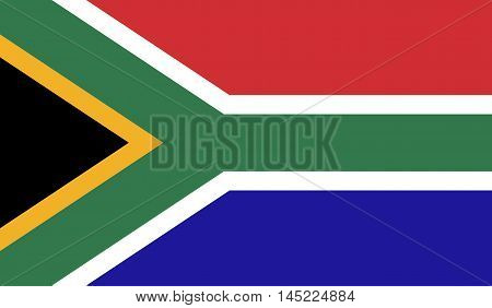 South Africa flag official colors and proportion correctly. National South Africa flag