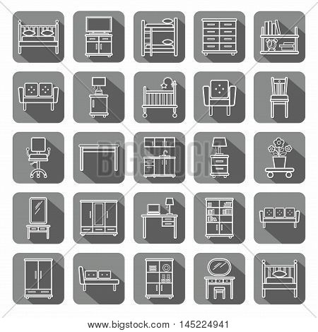 Furniture, icons, monochrome, gray, contour.  Vector contour icons for furniture. White image on a gray background with shadow.