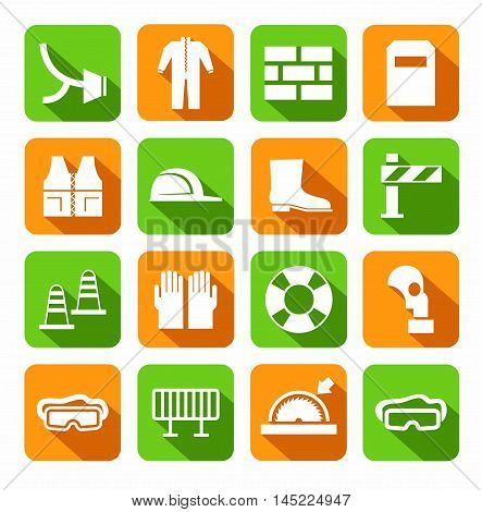 Occupational safety, personal safety, icons, colored, flat.  Vector icons with protective clothing and items of human security. White image on green and orange background with shadow.