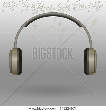 Realistic black Headphones. Vector Illustration Isolated on White Background.