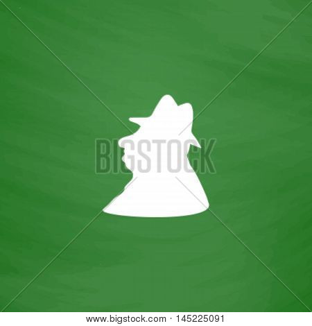 Man profile in hat. Flat Icon. Imitation draw with white chalk on green chalkboard. Flat Pictogram and School board background. Vector illustration symbol