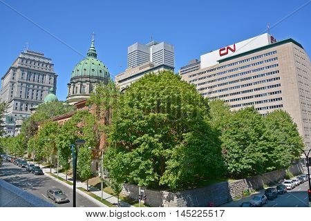 MONTREAL QUEBEC CANADA AUGUST 30 2016: Downtown Montreal Queen Elisabeth Hotel, CN, Sunlife and Place ville Marie Buildings, Cathedral-Basilica of Mary, Queen of the World
