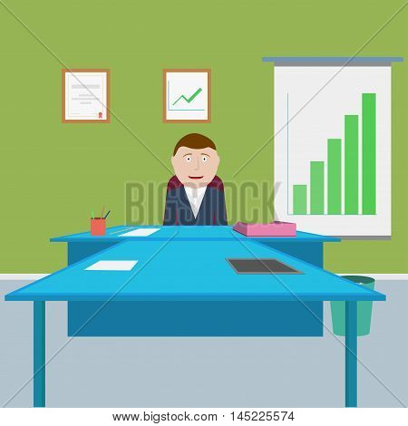 Happy chief. Boss in the office satisfied with the results of work. Vector illustration