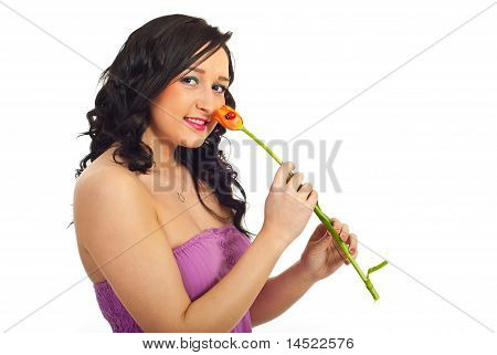 Woman Smelling Tulip