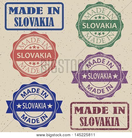 Made in Slovakia set of stamps vector illustration.