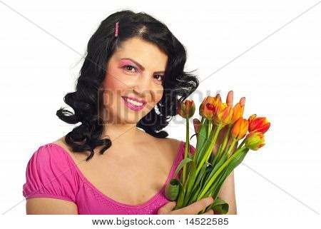 Beauty Woman With Tulips