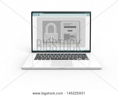 Illustration of 3D white laptop isolated with lock icon and QR code