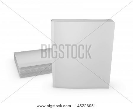 Paperback books empty covers mock up presentation 3D rendering.