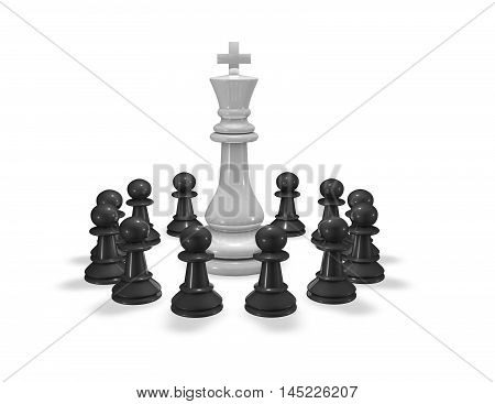 Teamwork concept 3D illustration with chess king and pawns isolated on white.