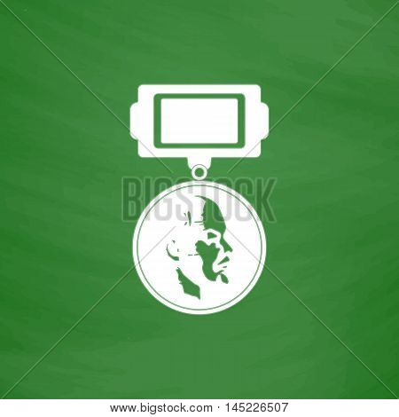 Soviet military Lenin order. Flat Icon. Imitation draw with white chalk on green chalkboard. Flat Pictogram and School board background. Vector illustration symbol