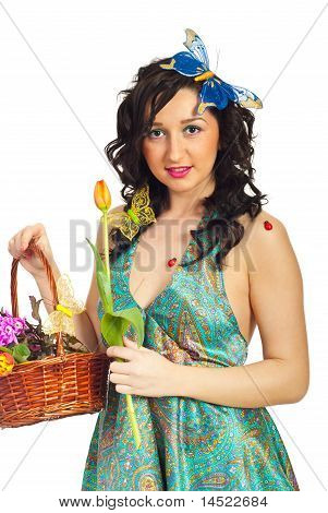 Cute Spring Girl With Flowers