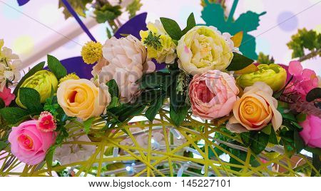 The Fancy colorful decorative garland of flowers
