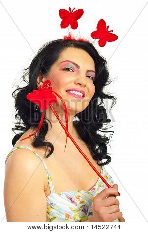 Happy Spring Woman With Butterfly Wand