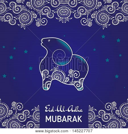 Greeting card template for Muslim Community Festival of sacrifice Eid-Ul-Adha with flat sheep illustration decorated by hand drawn zentangle.