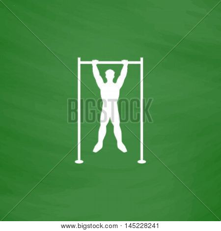 Horizontal bar and man. Flat Icon. Imitation draw with white chalk on green chalkboard. Flat Pictogram and School board background. Vector illustration symbol