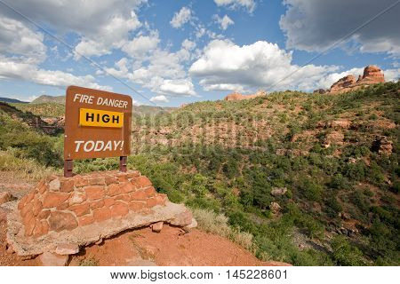 Fire danger warning sign in Arizona wilderness near Sedona, USA
