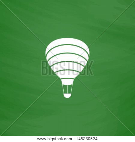 Sky balloon. Flat Icon. Imitation draw with white chalk on green chalkboard. Flat Pictogram and School board background. Vector illustration symbol