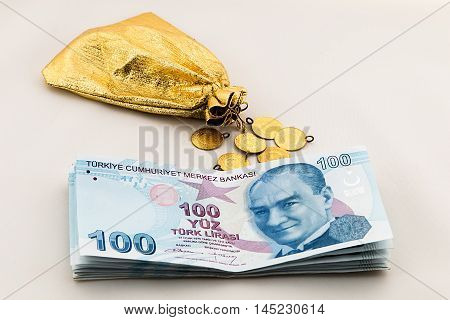 money, gold and investment,bank loan. turkish lira