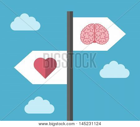 Directions sign with brain and heart icons on blue sky background. Choice emotion and logic concept. Flat design. Vector illustration. EPS 8 no transparency