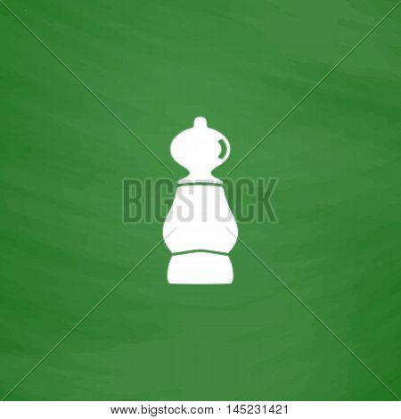 Chess pawn. Flat Icon. Imitation draw with white chalk on green chalkboard. Flat Pictogram and School board background. Vector illustration symbol