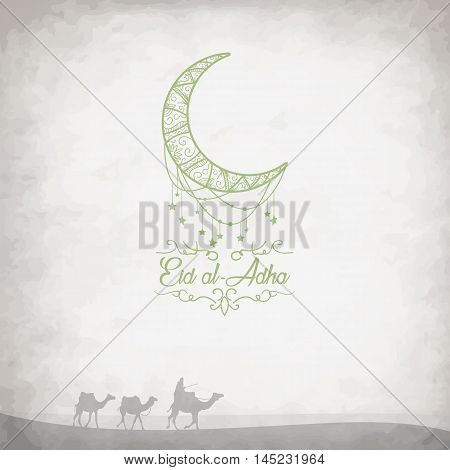 Creative graphics with camels in the desert on grungy background for Islamic Festival of Sacrifice of Eid-Al-Adha celebration. Vector illustration
