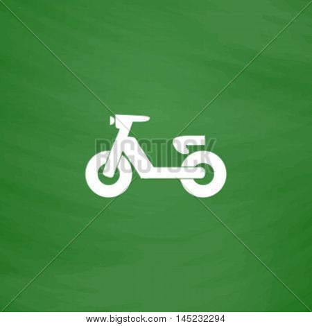 Scooter or moped. Flat Icon. Imitation draw with white chalk on green chalkboard. Flat Pictogram and School board background. Vector illustration symbol