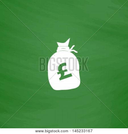 Money bag - Pound GBP. Flat Icon. Imitation draw with white chalk on green chalkboard. Flat Pictogram and School board background. Vector illustration symbol