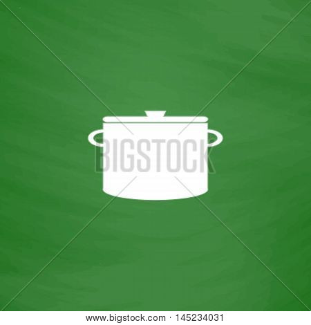Kitchen pan. Flat Icon. Imitation draw with white chalk on green chalkboard. Flat Pictogram and School board background. Vector illustration symbol