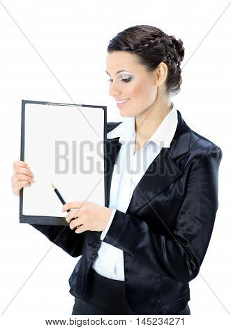 Portrait of a  young business lady with the work plan smiling. Isolated on a white background.